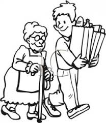 helping others clipart black and white