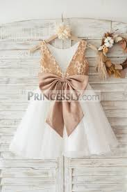champagne gold lace ivory tulle wedding flower dress with