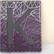 Reverse String Art Letter K Nail Purple