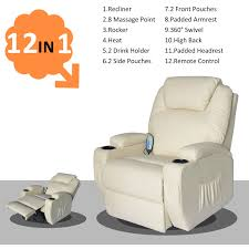 Cozzia Massage Chair 16027 by Homcom Deluxe Heated Vibrating Pu Leather Massage Recliner Chair