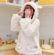 Cosplay Sheep Hoodie With Ears White Plush Winter Coat For Teenage Girls