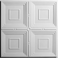 Tin Ceiling Tiles Home Depot by Ceilume Jackson White 2 Ft X 2 Ft Lay In Or Glue Up Ceiling