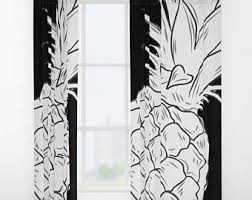 Tropical Window Art Curtains by Golden Pineapple Window Curtain Tropical Window Treatment