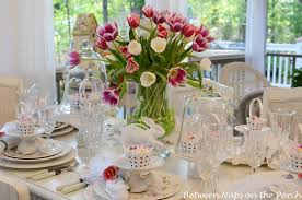 Easter Table Setting With Tulip Centerpiece And Pottery Barn Bunny Cupcake Stands