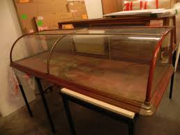 Curved Top Antique Display Case With Metal Fittings