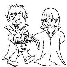 Ghost Bat And Frankenstein Vampire Costumes Coloring Page