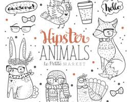 Woodland Hipster Animal Clipart Clip Art Hand Drawn Fox