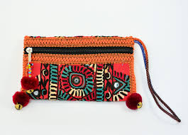purple and black clutch bag sindhi embroidery bag handmade bags
