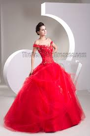 ball gown red off the shoulder beaded lace up pageant formal dress
