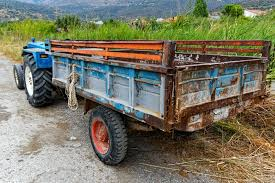 Download Old Metal Tray Farm Trailer Greece Stock Photo