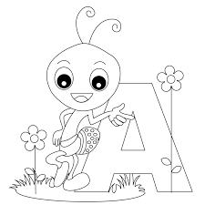Letter A Coloring Pages Alphabet Words For Kids Printable Colouring Flash Cards Free Sheets Pictures