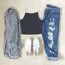 Top Fashion Clothes Tumblr Outfit Converse Ripped Jeans Crop Tops Cardigan Jacket