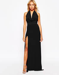 love cowl neck maxi dress with thigh high split in black lyst