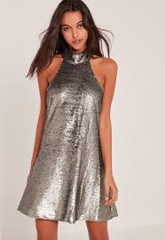 silver high neck halter sequin swing dress missguided
