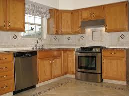 Kitchen Backsplash Ideas With Dark Wood Cabinets by Tiles Backsplash Sea Glass Backsplash Tile Oak Cabinets Stained