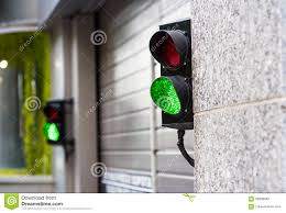 green and stop light in garage stock image image 94936987