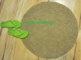 Green Jute Rug by Cottage Rug Round Area Rug Handmade Natural Jute Rug No 012
