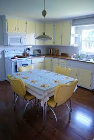Yellow White Two Tone Kitchen Cabinets And Vintage Inspired Decor