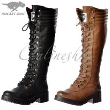 rocket dog landers bromley knee high military style lace up boots