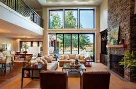 Living Room Open Concept Dining Kitchen Round Ottoman Double Side Table The Wooden Floor Sliding Glass