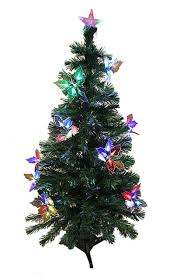 3 Pre Lit Fiber Optic Artificial Christmas Tree With Flowers