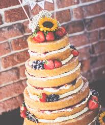 Naked Wedding Cake Sunflowers Bunting Rustic Vintage Dereham