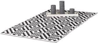 relaxdays teppich baumwolle läufer rutschfest teppichläufer flur gewebt wohnzimmerteppich 70x140 cm schwarz weiß