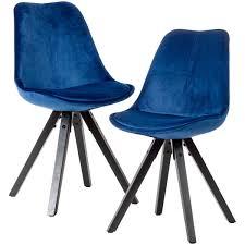 weiches esszimmerstuhl 2er set ohne armlehnen in dunkelblau samt küchenstühle modern mit schwarzen holzbeinen schalenstuhl gepolstert 110 kg