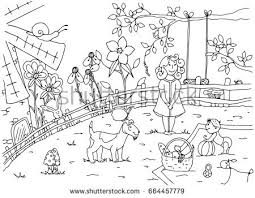 Vector illustration of a mom and baby on a picnic Doodle drawing liner Coloring