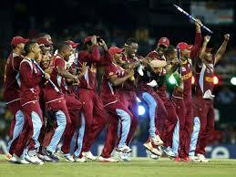 West Indies Team Members Celebrate Winning The ICC