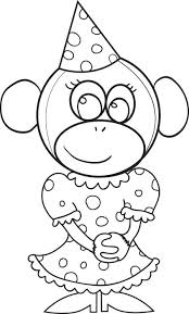 Printable Coloring Page Of A Monkey Wearing Birthday Hat