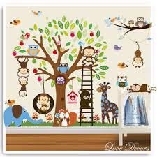 stickers jungle chambre bébé owl wall stickers monkey jungle zoo tree nursery baby room