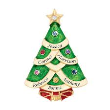 Family Christmas Tree Personalized Pin