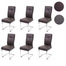 6x esszimmerstuhl hwc g56 küchenstuhl freischwinger stuhl textil wildleder optik braun