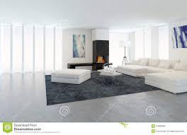 modernes weißes wohnzimmer mit kamin stock abbildung