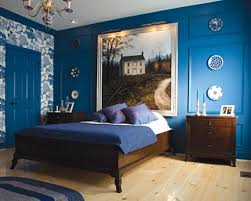 pretty natural bed ideas come with royal blue wall interior design