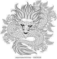 Chinese Dragon In Zentangle Style For Tatoo Adult Antistress Coloring Page Black And White