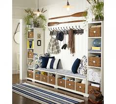 Furniture Remarkable Pottery Barn Samantha Entryway Bench With Striped Cushion And Navy Blue Throw Pillows