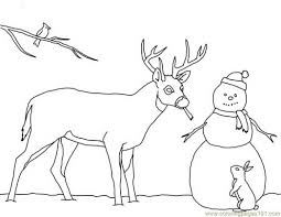 Free Printable Coloring Page Christmas Card Deer Snowman Mammals
