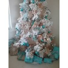 75 Flocked Christmas Tree by Green White 7 5 Foot Flocked Faux Pine Long Needle Pre Lit
