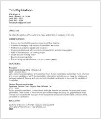 Recruiter Resume Templates Sample Perfect Objective For Hr Position