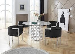 leonique esstisch runde glasplatte mit modernem chromgestell in handarbeit gefertigt