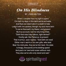 His Blindness by John Milton Spiritual Nest