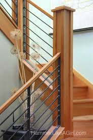 Stair Railing Design, Custom Stair Railing, Metal And Wood ... Remodelaholic Updating An Oak Stair Or Handrail To White And Walnut Rustic Wood Stair Railings Light Wood Staircase Best 25 Painted Banister Ideas On Pinterest Banister Remodel Top Ten Makeovers Link Party Railing Modern Neutral Wooden With Minimalist Steel Railing Bannister Banisters 12 Best Stairs Images Stairs Custom Interior Simple Also Rustic
