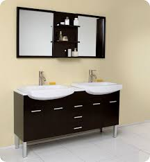 Double Bathroom Vanities With Dressing Table by Double Sink Vanity With Makeup Table Brown Stained Wooden Open