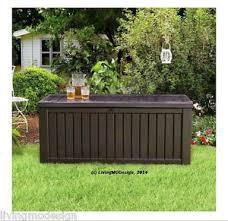 Keter Rockwood 150 Gallon Patio Storage Bench Weatherproof Deck