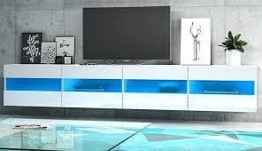 tv lowboard rial in hochglanz weiß tv unterteil hängend board 200 x 35 cm mit led beleuchtung