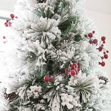 Belham Living Flocked Pine Needle Pre Lit Christmas Tree With