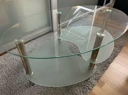 design glastisch rund oval wohnzimmer couchtisch beistelltisch