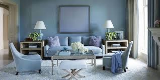 Inspiring Blue Living Room Decor Light Wall Color Sofa Armchair Stool White Rug
